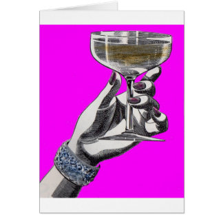 woman's hand holding glass of wine greeting card