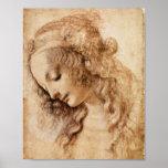 Woman's Head by Leonardo da Vinci Poster