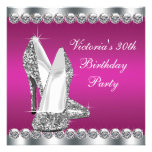 Womans Hot Pink 30th Birthday Party Personalized Invitations