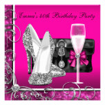 Womans Hot Pink 40th Birthday Party Invitations
