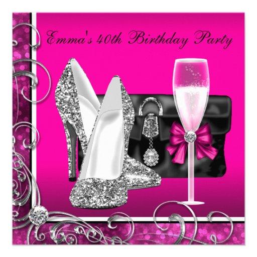 Womans Hot Pink Birthday Party 13 Cm X 13 Cm Square ...
