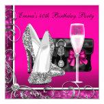 Womans Hot Pink Birthday Party Custom Invitations