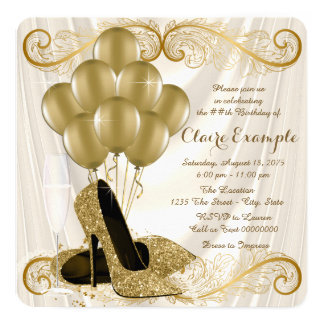 Womans Ivory and Gold Birthday Party Glamour Satin 13 Cm X 13 Cm Square Invitation Card