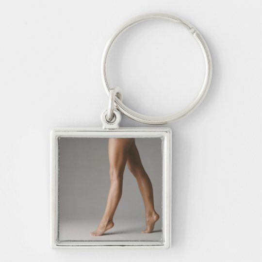 Woman's legs Silver-Colored square key ring