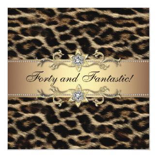 "Womans Leopard Birthday Party Invitations 5.25"" Square Invitation Card"