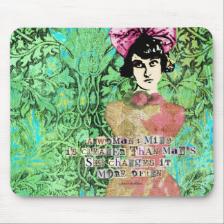 Womans Mind Digital Collage Green Background Mouse Pads