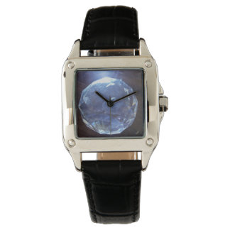 Woman's perfect square black leather strap watch