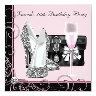 "Womans Pink 30th Birthday Party Invitations 5.25"" Square Invitation Card"