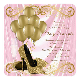 Womans Pink and Gold Birthday Party Glamour Satin Card