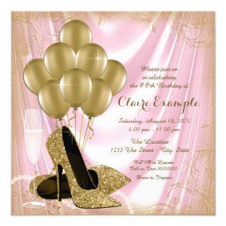 Womans Pink and Gold Birthday Party Satin Glitter Card