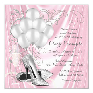 Womans Pink and Silver Birthday Party Luxe 13 Cm X 13 Cm Square Invitation Card