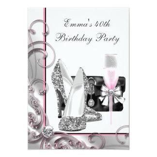 Womans Pink Birthday Party 13 Cm X 18 Cm Invitation Card
