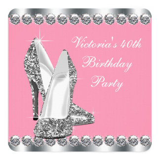 Womans Pink Birthday Party Card