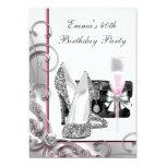Womans Pink Birthday Party Custom Invites