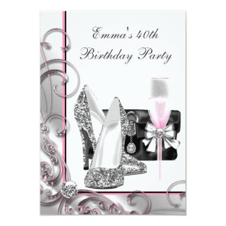 "Womans Pink Birthday Party 5"" X 7"" Invitation Card"