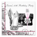 Womans Pink Birthday Party 13 Cm X 13 Cm Square Invitation Card