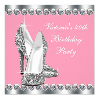 Womans Pink Birthday Party Personalized Invites