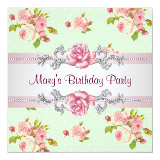 Womans Pink Rose Birthday Party Card