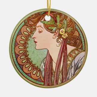 Woman's Profile, Alphonse Mucha Christmas Ornament