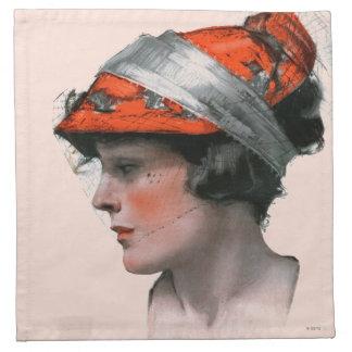 Woman's Profile Printed Napkin