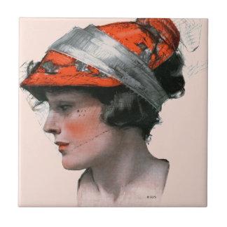 Woman's Profile Tile