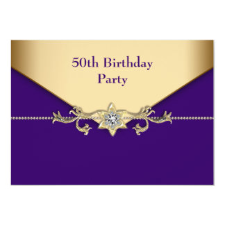 Womans Purple Gold 50th Birthday Party 13 Cm X 18 Cm Invitation Card