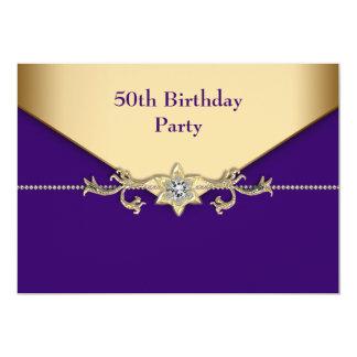Womans Purple Gold 50th Birthday Party 13 Cm X 18 Cm Invitation Card