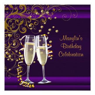 Womans Purple Gold Birthday Party Custom Invitations