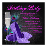 Womans Purple Peacock Birthday Party 13 Cm X 13 Cm Square Invitation Card