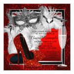Womans Red and Black Masquerade Birthday Party Personalised Invitations