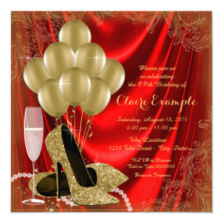 Womans Red and Gold Birthday Party Satin Glitter Card