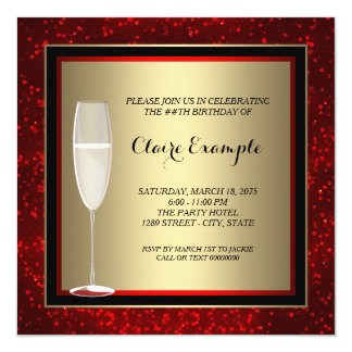 Womans Red and Gold Champagne Birthday Party 13 Cm X 13 Cm Square Invitation Card