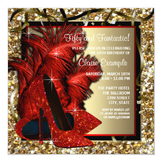 Womans Red and Gold High Heels Birthday Party 13 Cm X 13 Cm Square Invitation Card