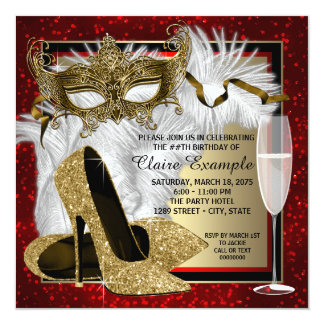Womans Red and Gold Masquerade Birthday Party Card