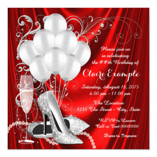 Womans Red and Silver Birthday Party Luxe Card