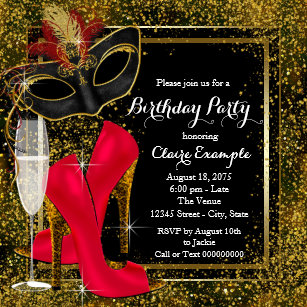 Womans Red Black Gold High Heel Birthday Party Invitation