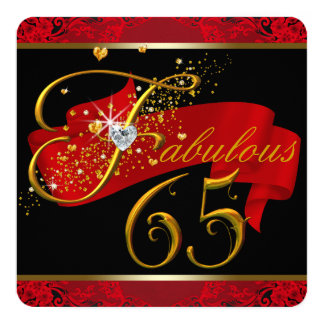 Womans Red Fabulous 65th Birthday Party 13 Cm X 13 Cm Square Invitation Card