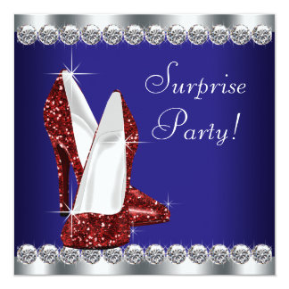"""Womans Red White and Blue Birthday Party 5.25"""" Square Invitation Card"""