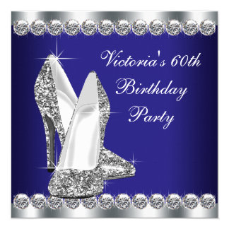 Womans Royal Blue 60th Birthday Party 13 Cm X 13 Cm Square Invitation Card