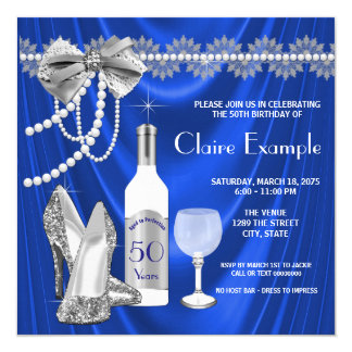 Womans Royal Blue and Silver Aged to Perfection 13 Cm X 13 Cm Square Invitation Card