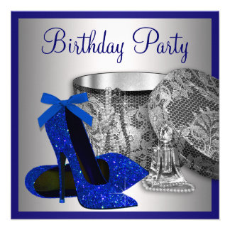 Womans Royal Blue and Silver Birthday Party Invites