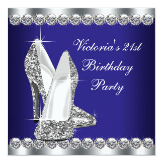 Womans Royal Blue Birthday Party 13 Cm X 13 Cm Square Invitation Card