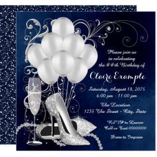 Womans Royal Blue Silver Elegant  Birthday Party Card