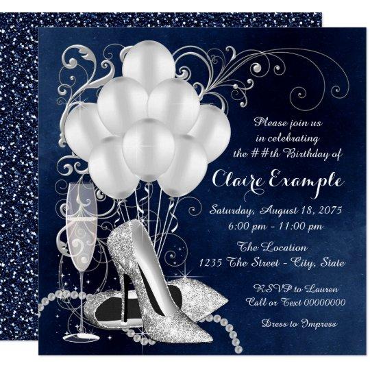 womans royal blue silver elegant birthday party invitation zazzle