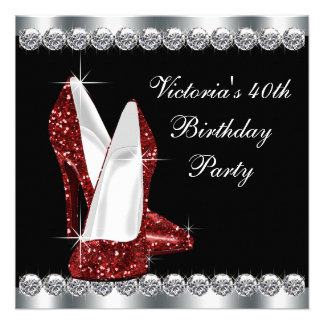 Womans Ruby Red Birthday Party Custom Announcement