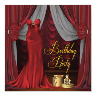 Womans Ruby Red Gold Birthday Party Card