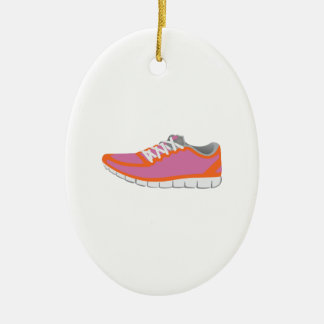 WOMANS RUNNING SHOE CERAMIC OVAL DECORATION