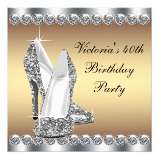 Womans Silver and Gold 40th Birthday Party Announcements