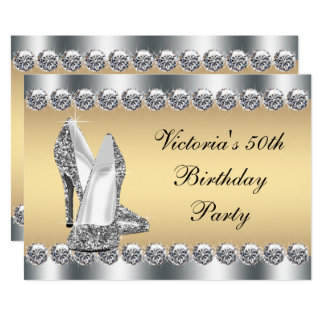 Womans Silver Gold Diamond Bling Birthday Party Card