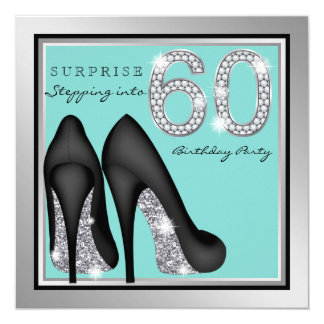 Womans Silver Teal Surprise 60th Birthday Party 13 Cm X 13 Cm Square Invitation Card